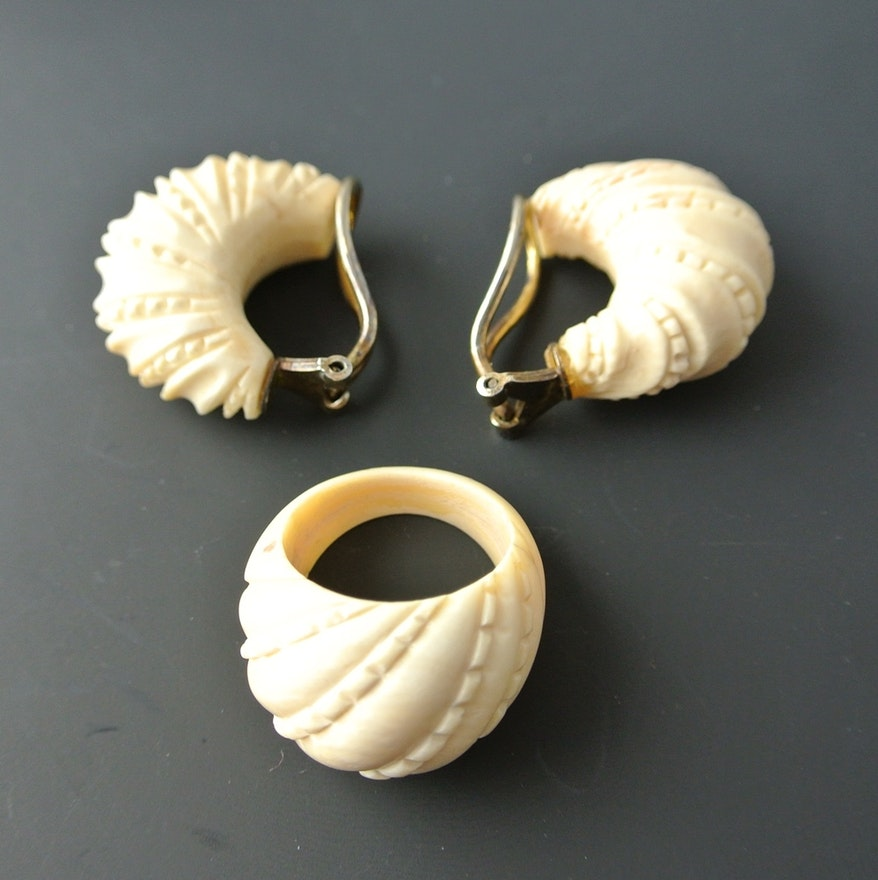 Vintage Real Ivory Jewelry Set Ebth