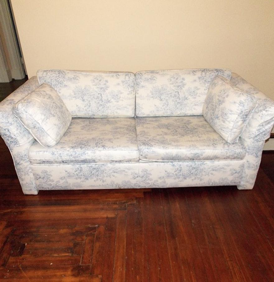 Pale Blue Toile Sleeper Sofa Ebth