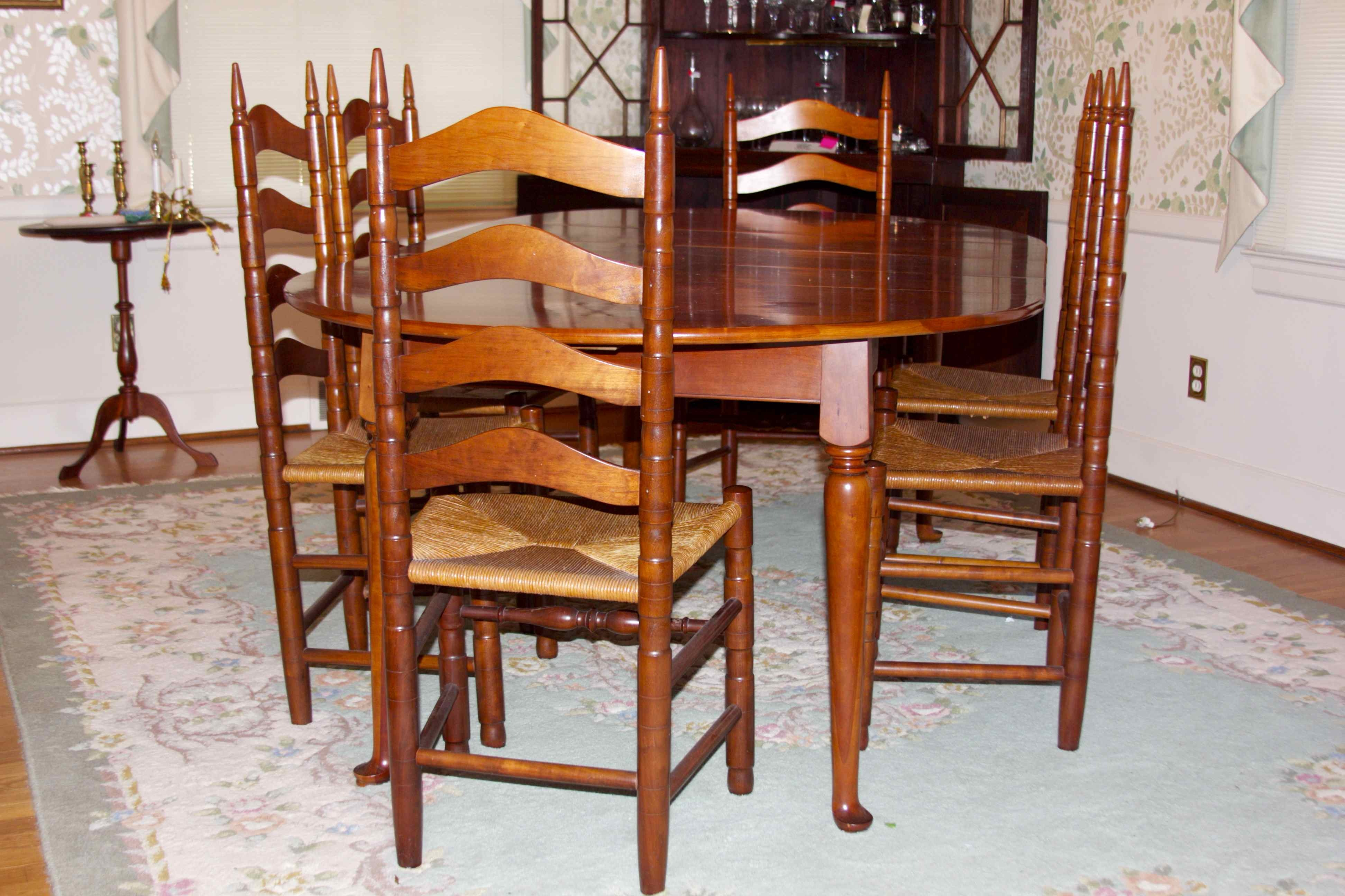 henkel harris solid cherry dining table and chairs ebth