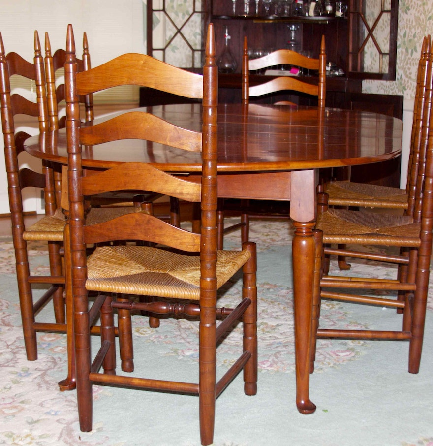 Cherry Table And Chairs: Henkel Harris Solid Cherry Dining Table And Chairs : EBTH