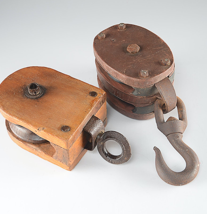 Pair of antique pulleys ebth for Uses for old pulleys