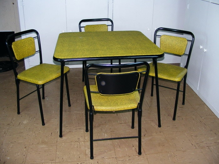 "Vintage Cosco ""fashionfold"" Chairs and Folding Card Table"