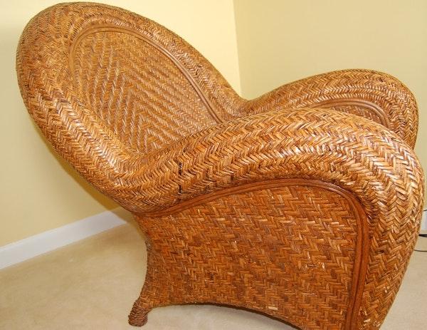 Pottery Barn Malabar Wicker Arm Chair Ebth