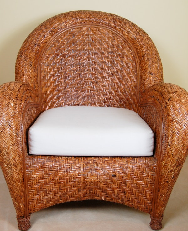 Pottery Barn Malabar Wicker Arm Chair Ebth