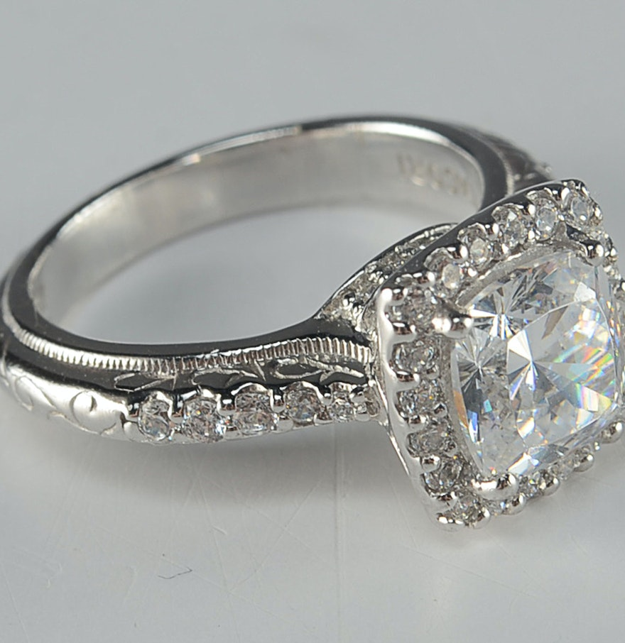 tacori sterling silver and cubic zirconia ring ebth