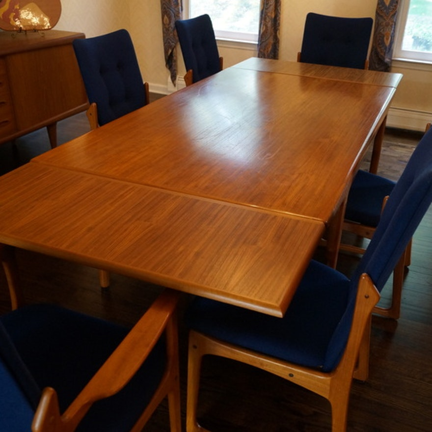 Danish Dining Room Set: Falster Teak Danish Dining Room Table Set And 6 Chairs