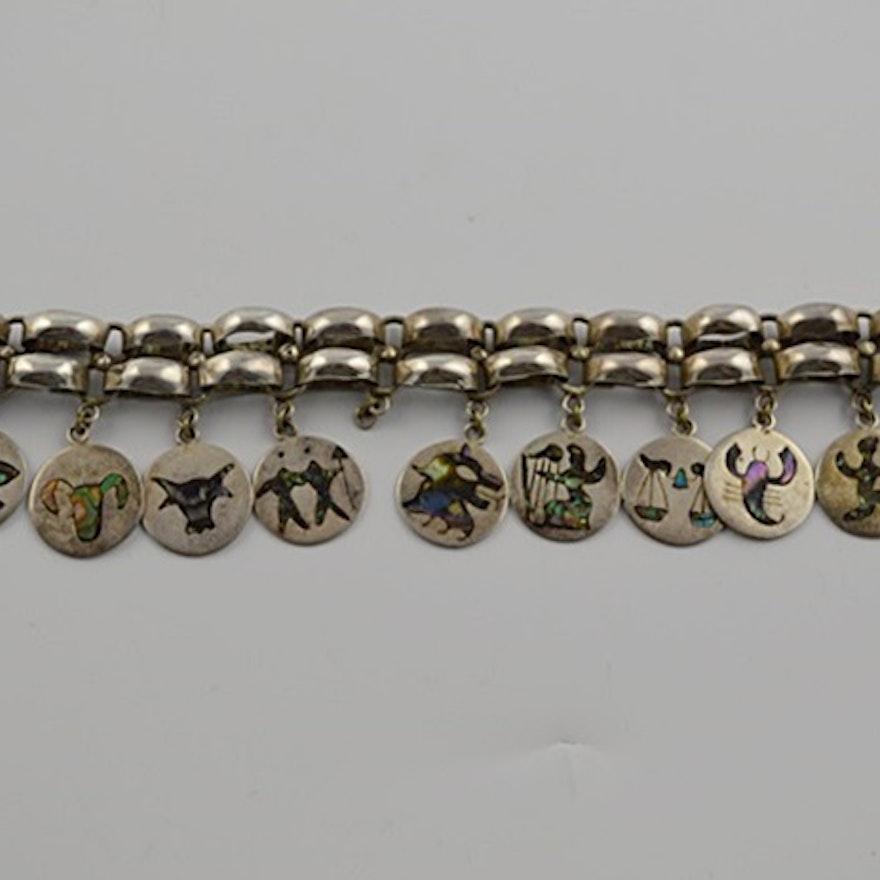 Sterling Silver Zodiac Charm Bracelet From Mexico
