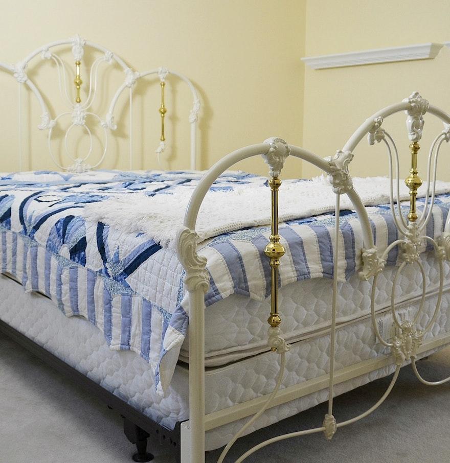 elliots designs jasmine white metal queen bed with bedding