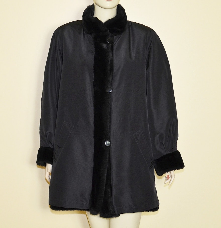 J. Percy for Marvin Richards Reversible Black Faux Fur Coat : EBTH