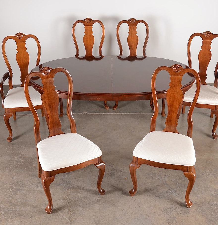 Bench Style Dining Table Sets ~ Bernhardt queen anne style dining table and chairs ebth