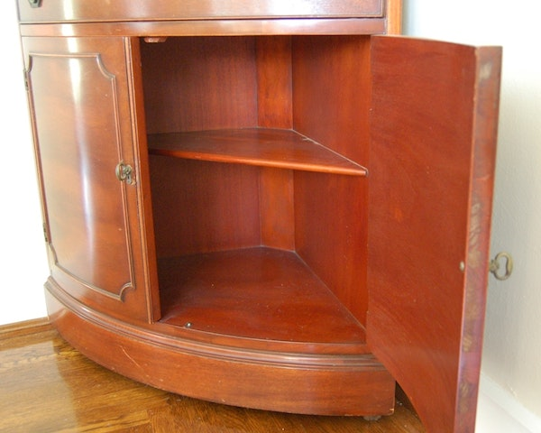 Federal Style Curved Front Corner Cabinet Ebth