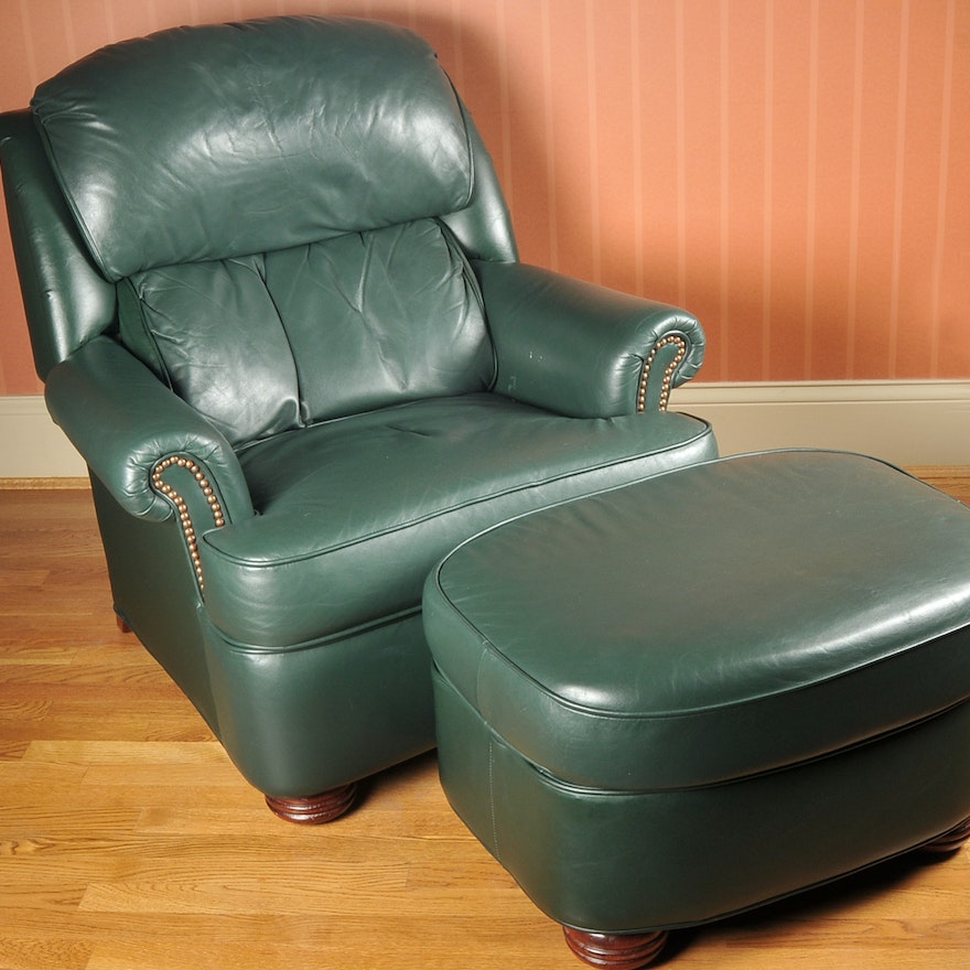 Sensational Green Leather Barcalounger And Ottoman Andrewgaddart Wooden Chair Designs For Living Room Andrewgaddartcom
