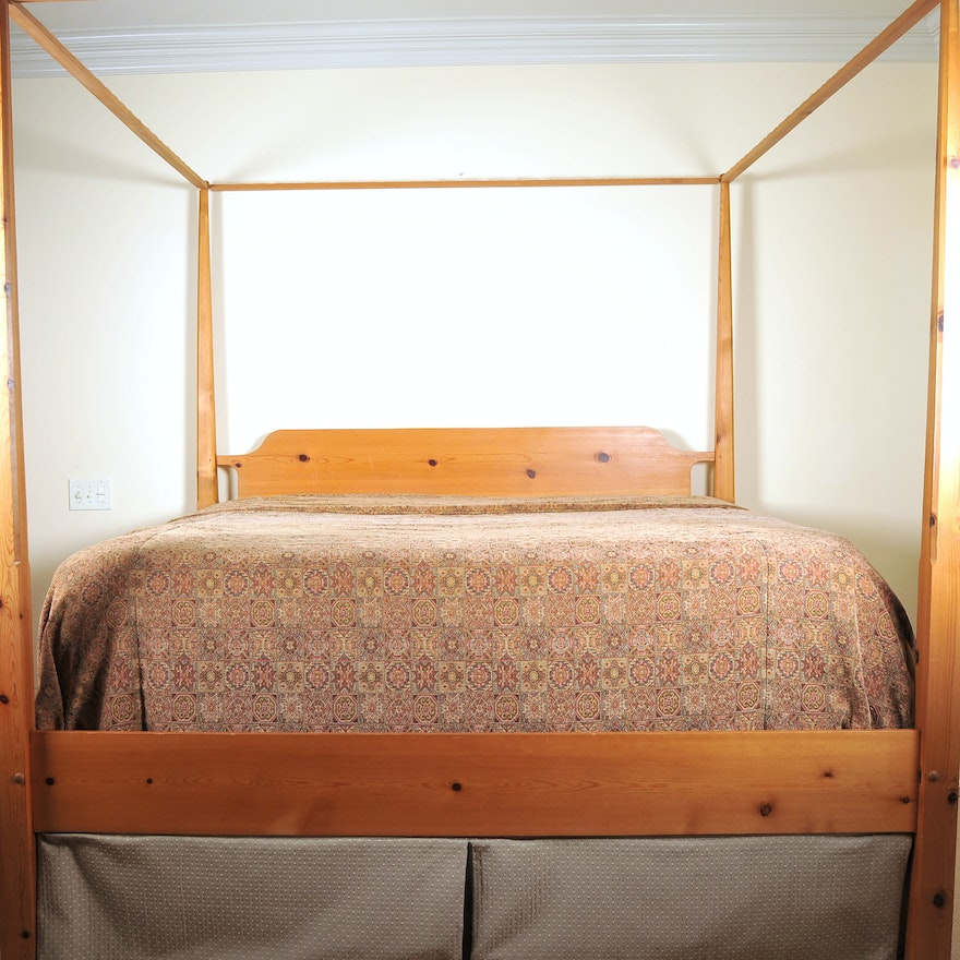 King Size Pencil Post Pine Bed Ebth