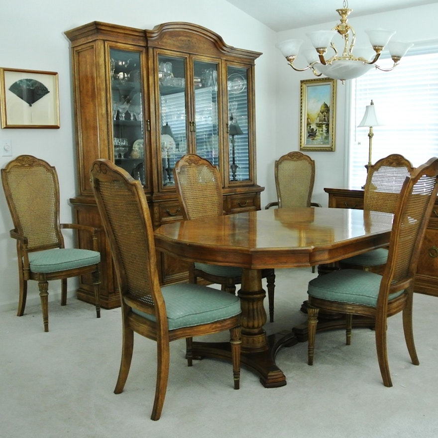 Dining Room Table with 6 Cane Back Chairs | EBTH