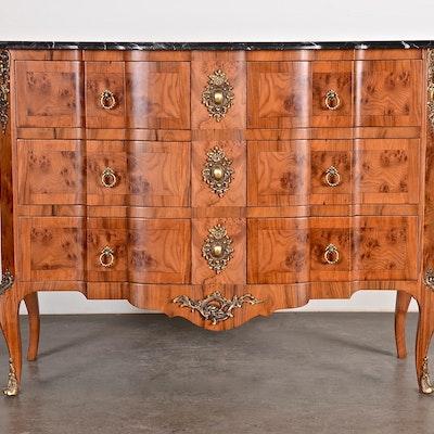 A Fine Louis XV Marble Top Commode Reproduction - Online Furniture Auctions Vintage Furniture Auction Antique