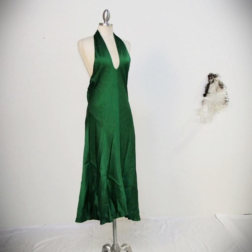 Sexy Banana Republic Emerald Green Silk Halter Style Cocktail Dress