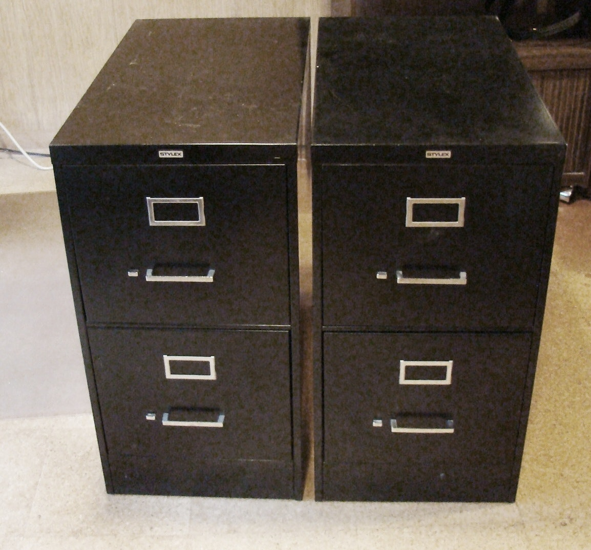 Pair Of Stylex, Black 2 Drawer File Cabinets.