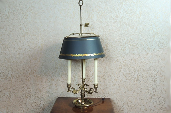 french bouillote three candle electric table lamp