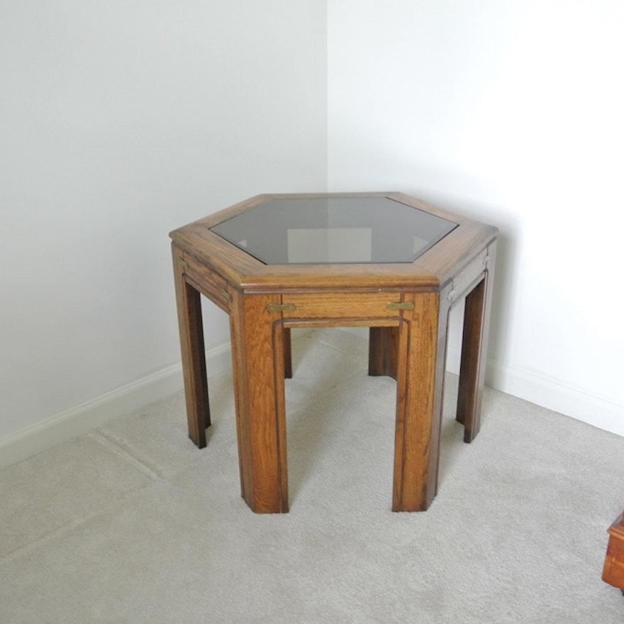 Glass Top Hexagon Solid Wood Side Table EBTH - Hexagon wood coffee table