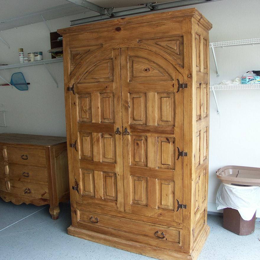 santa fe rustic pine armoire ebth. Black Bedroom Furniture Sets. Home Design Ideas