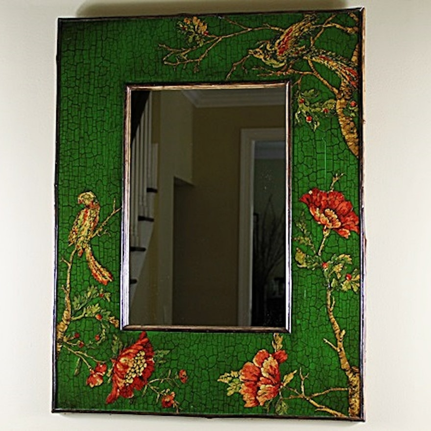Mirror with Hand Painted and Decoupage Wood Frame : EBTH