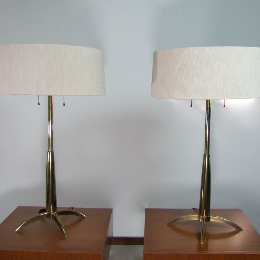 Mid century modern pair of stiffel rocket table lamps