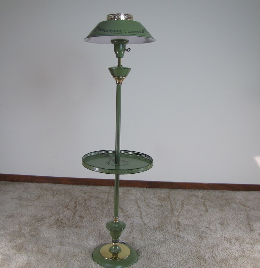 vintage tole floor lamp with tray table ebth. Black Bedroom Furniture Sets. Home Design Ideas