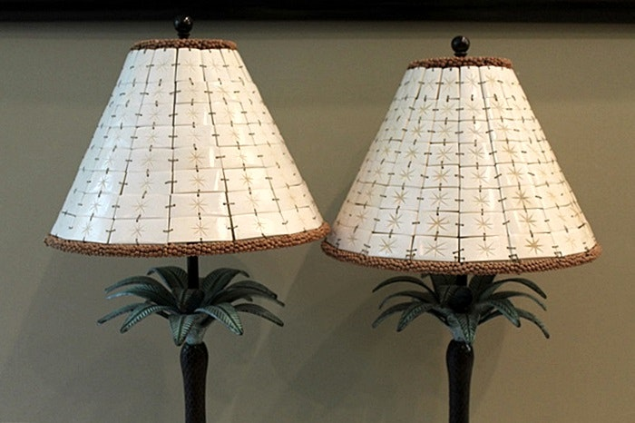 Pair Of Exotic Bombay Company Palm Tree Lamps With Unique