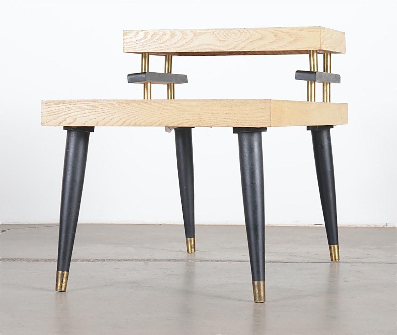 Mid Century Modern Split Level Blond Laminate Side Table