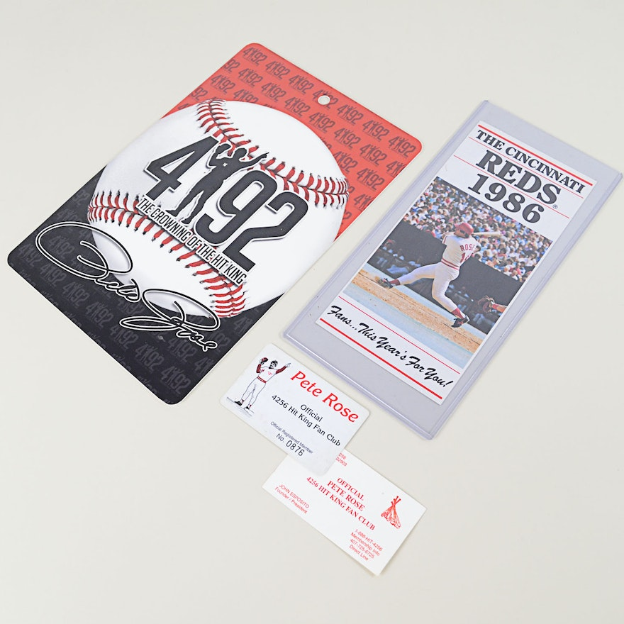 Pete Rose 4192 Plaque And Official Hit King Fan Club Pass Ebth