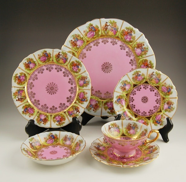 Set of J.K Carlsbad China Settings with Courting Couples