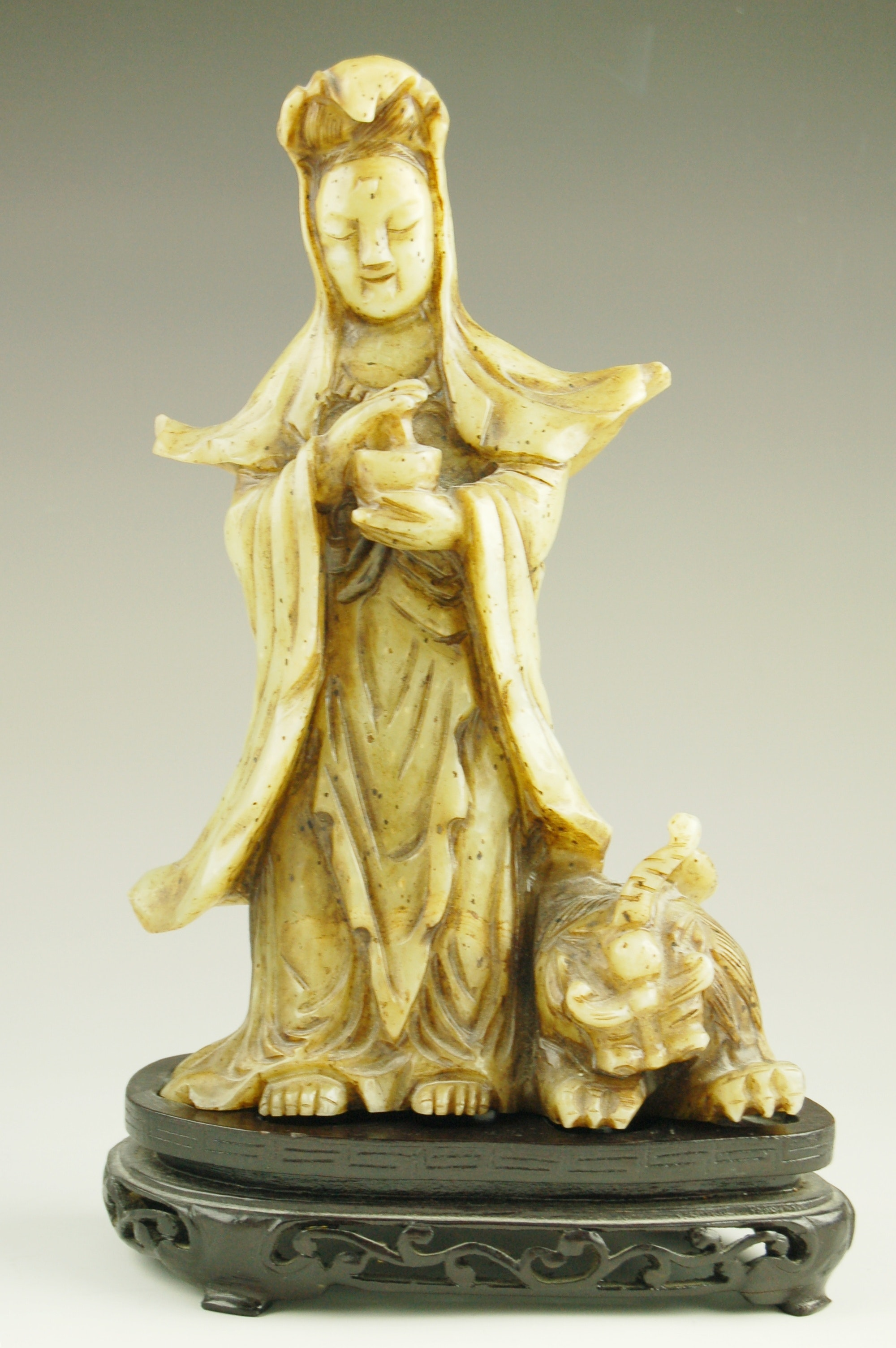 Composite Jade Kwan Yin Statue with Fortune Foo Dog
