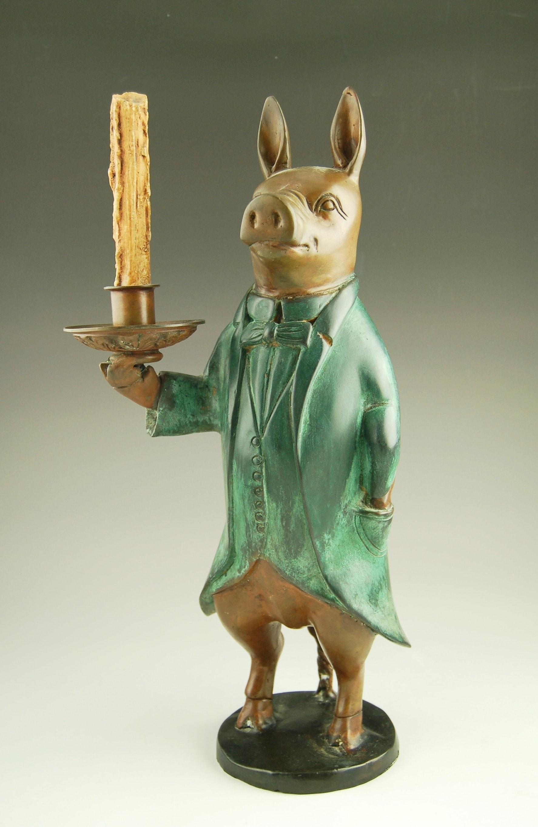 Bronze Pig Candlestick