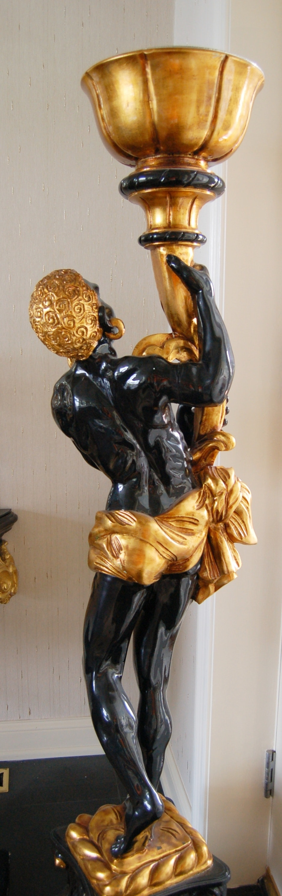 French Blackamoor Torchiere Lamp