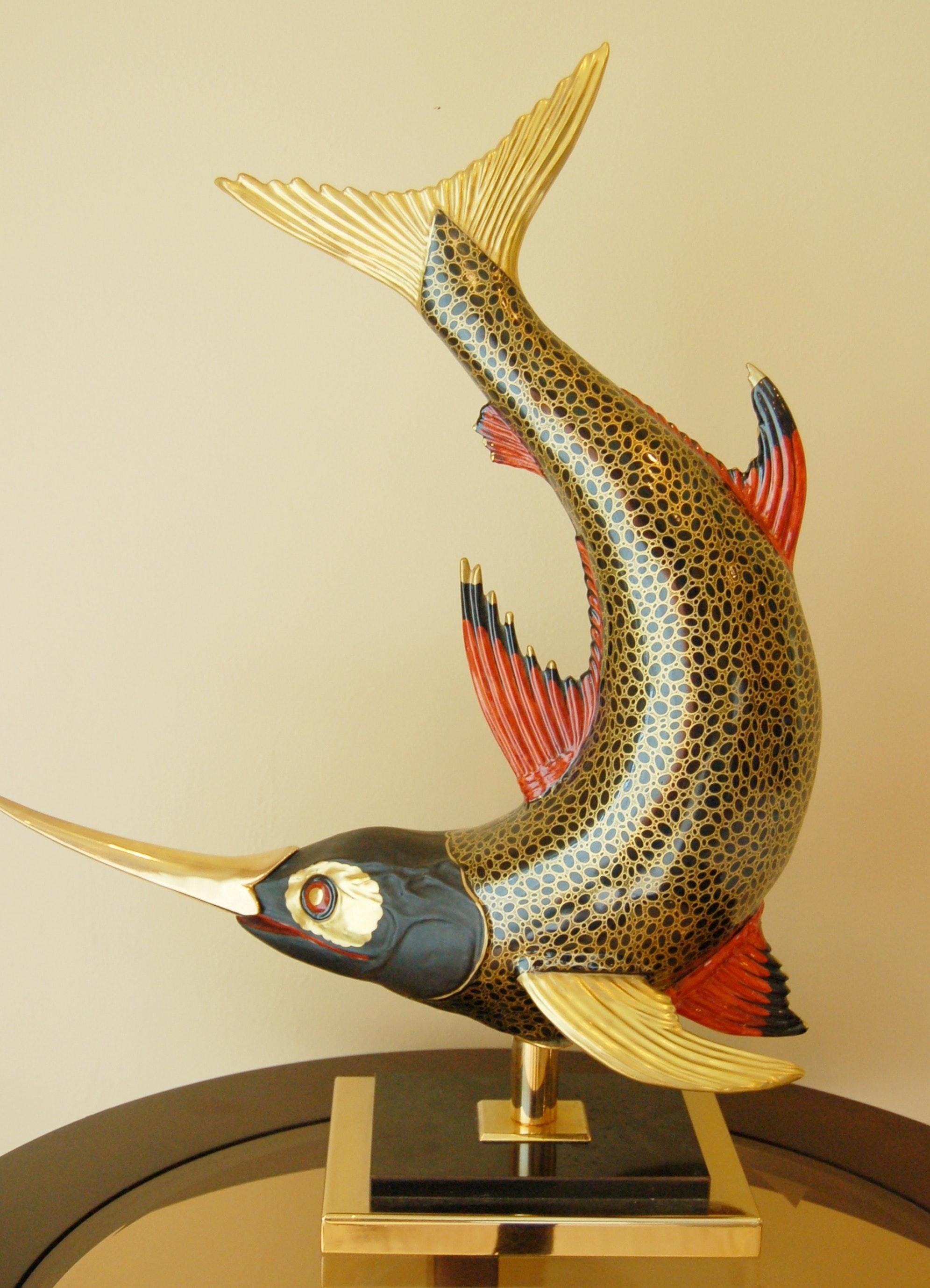 Metal Sword Fish Sculpture