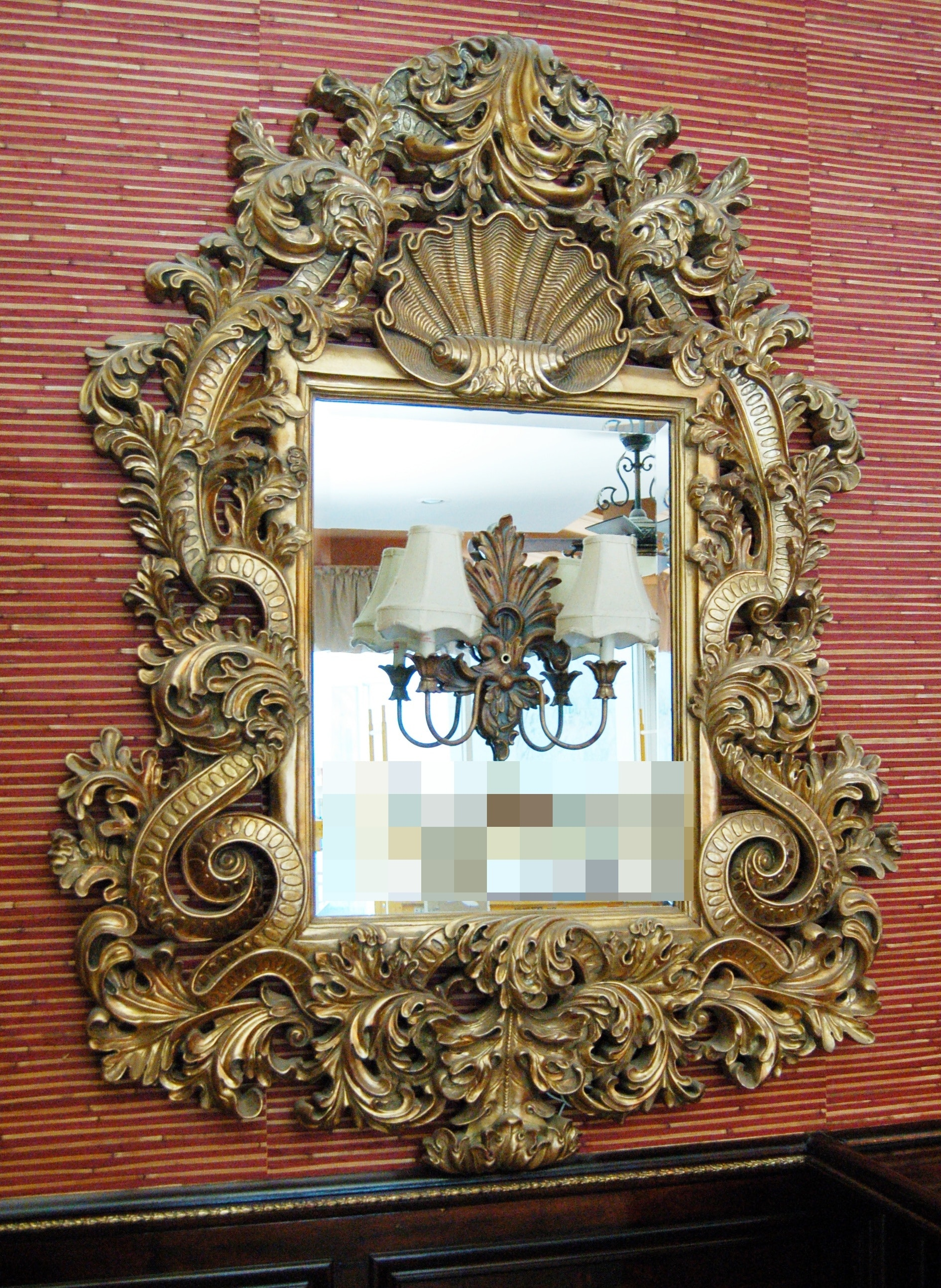 Pair of Rococo Style Framed Mirror Sconces
