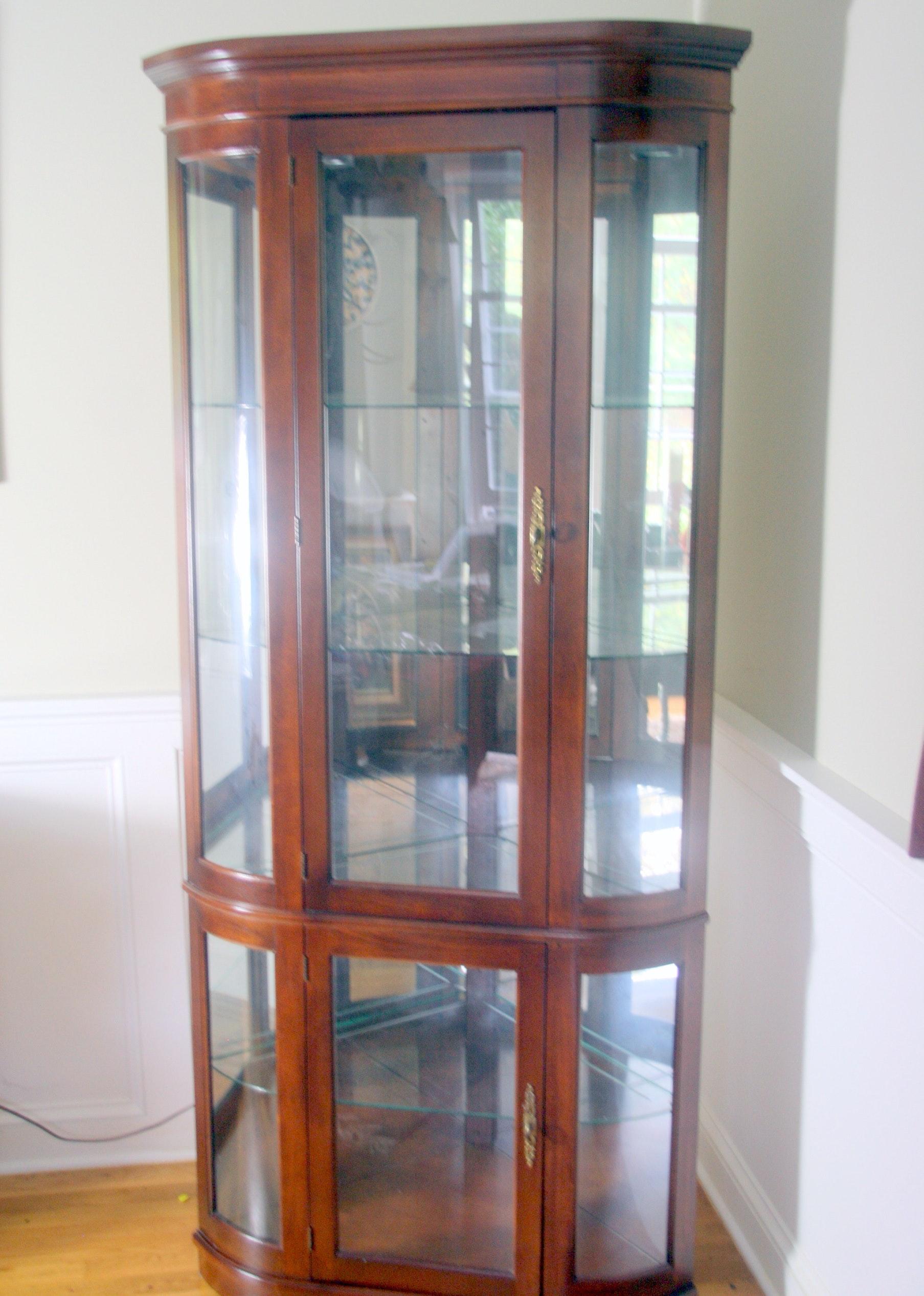 Philip Reinisch Lighted Curved Corner Curio Cabinet ...