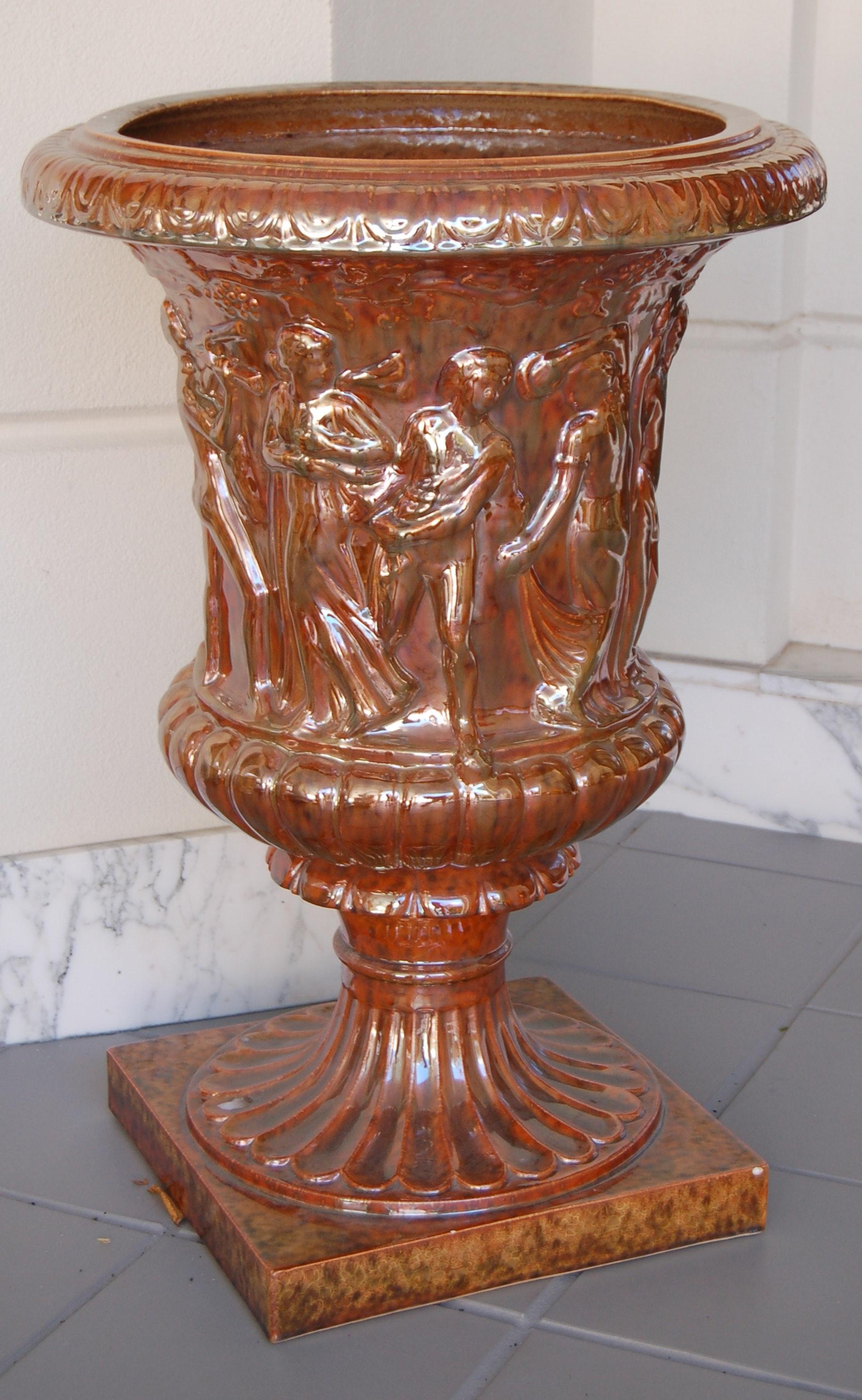 Red Glazed Romanesque Urn