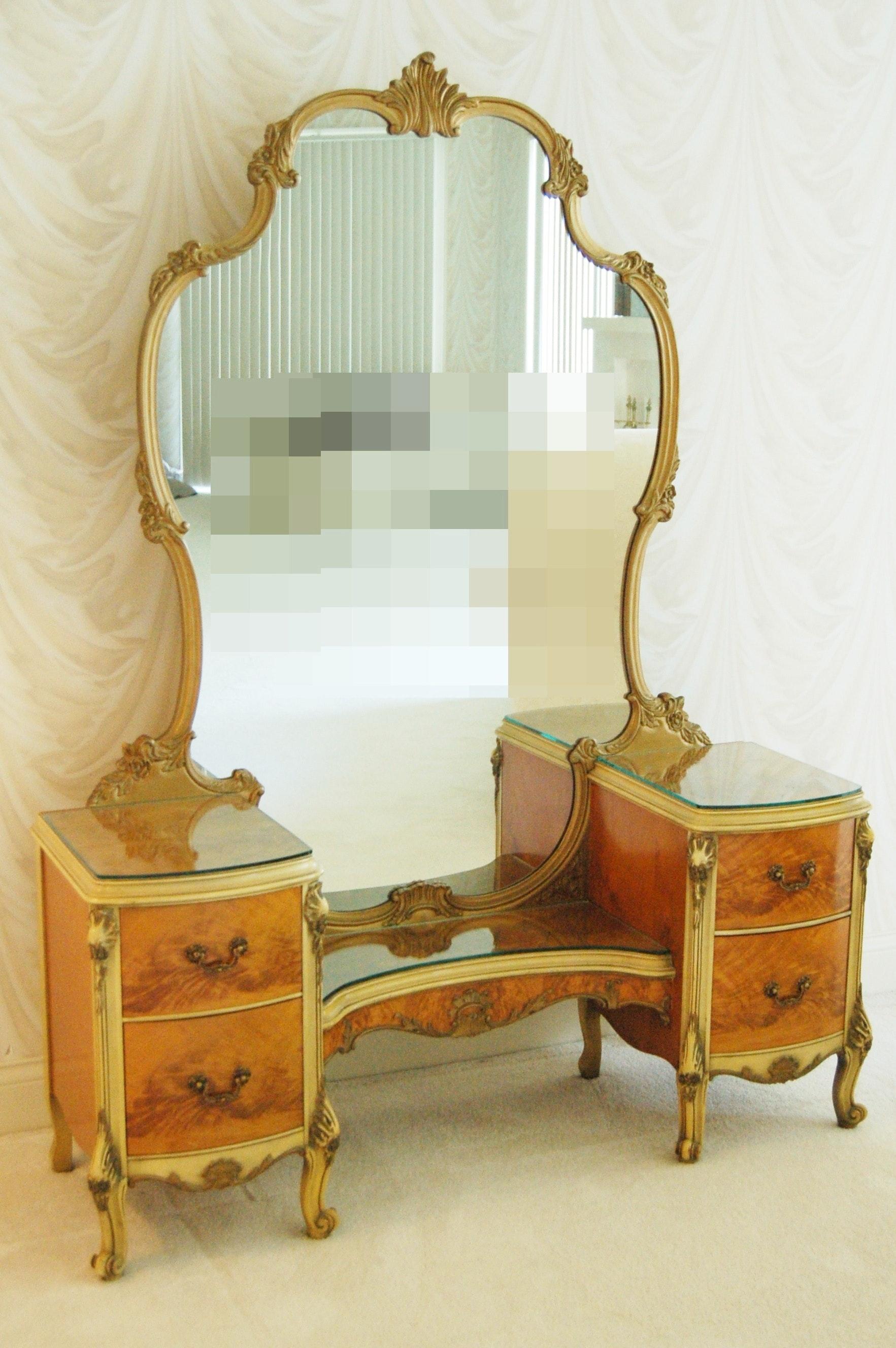 Louis XV Style Walnut Crotch Veneer Vanity
