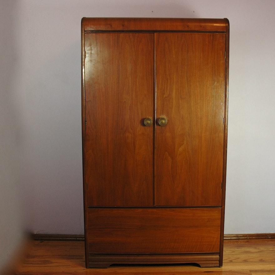walnut waterfall veneer art deco armoire ebth. Black Bedroom Furniture Sets. Home Design Ideas