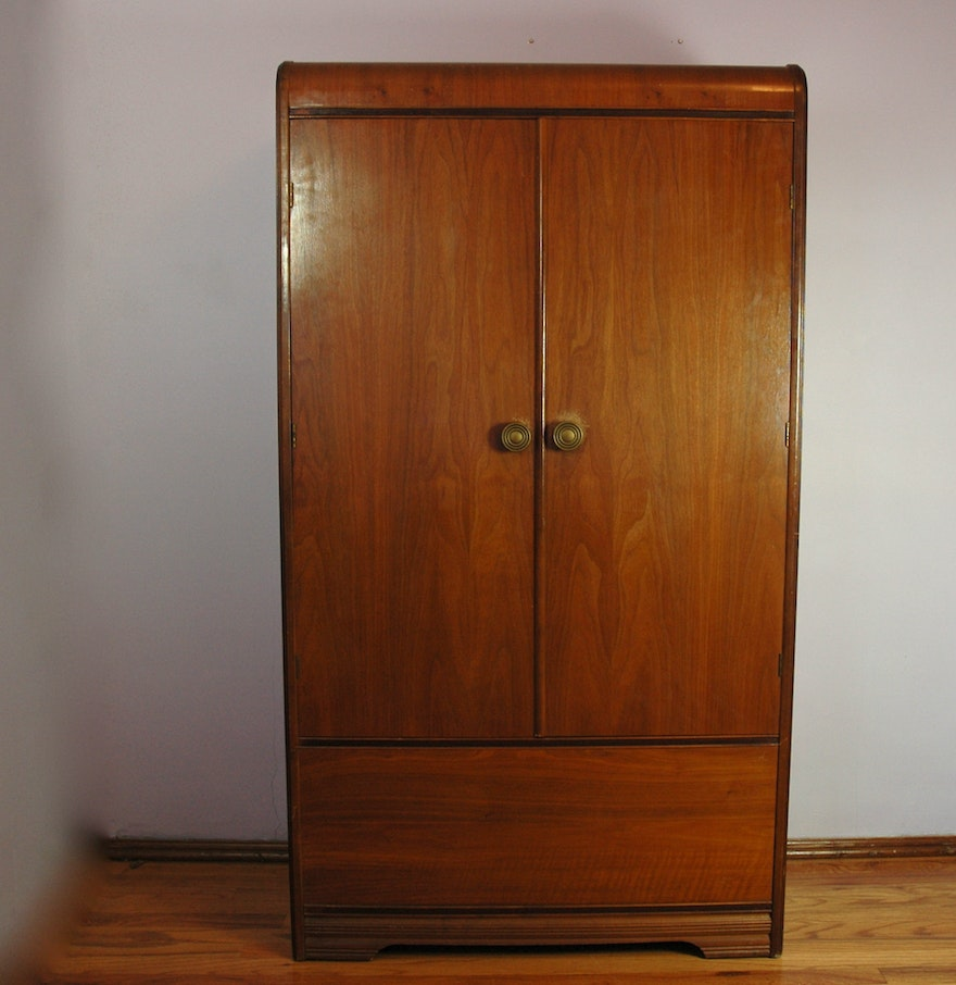 walnut waterfall veneer art deco armoire ebth. Black Bedroom Furniture Sets. Home Design Ideas