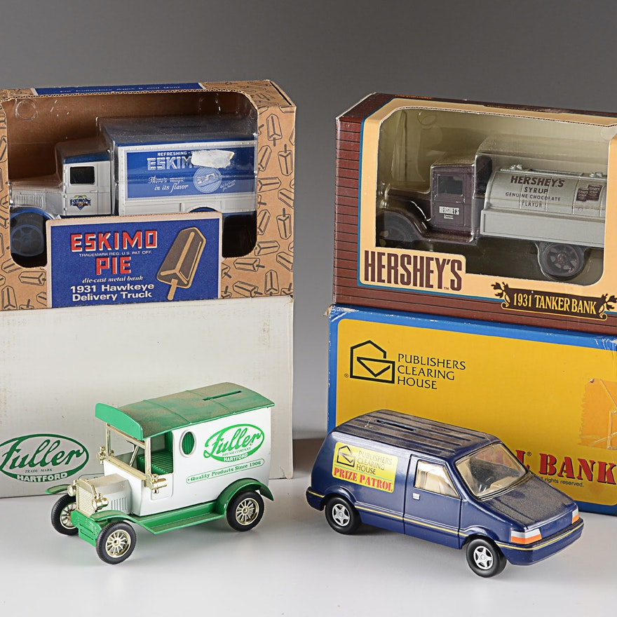 Wonderful Collection of Die Cast Advertisement Truck Coin Bank Collectibles