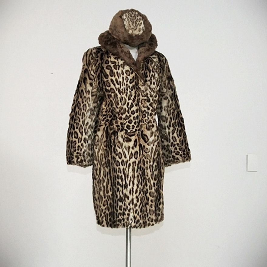 Rare 1940 S Genuine Ocelot And Beaver Fur Coat With