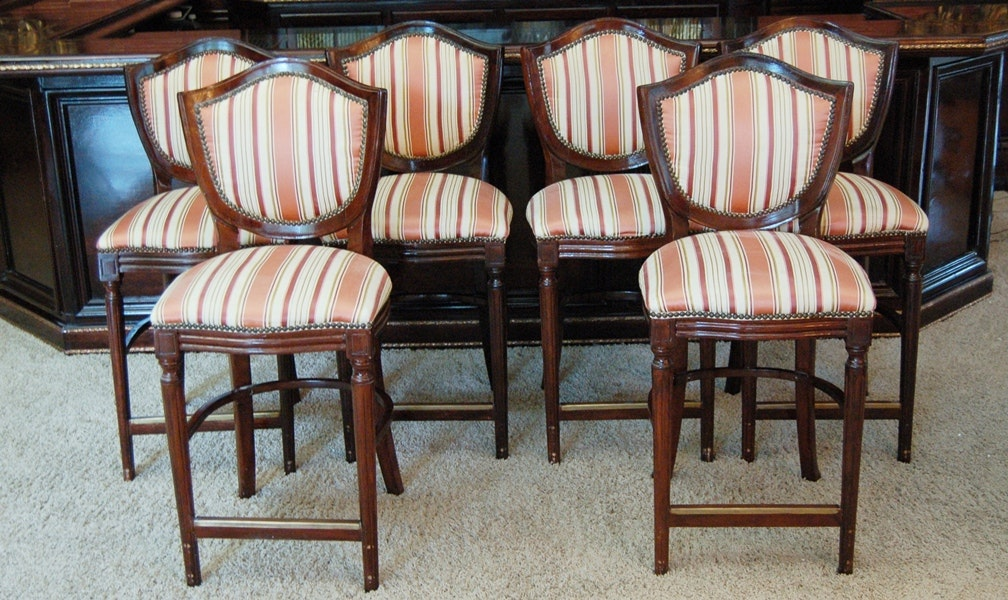 Six Federal Style Upholstered Bar Stools