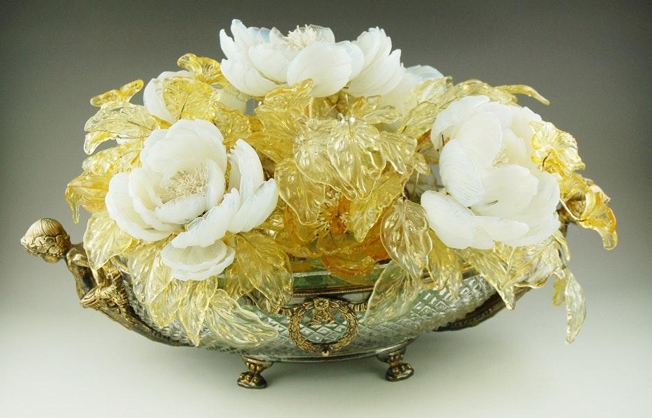 Venetian Glass Floral Arrangement in a Crystal Bowl