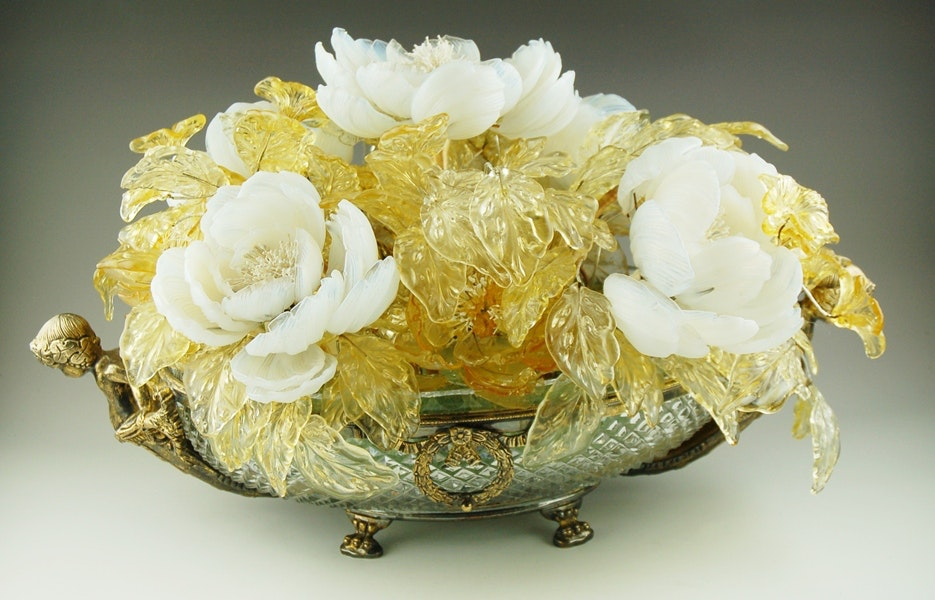 Venetian Glass Floral Arrangement in a Crystal Bowl