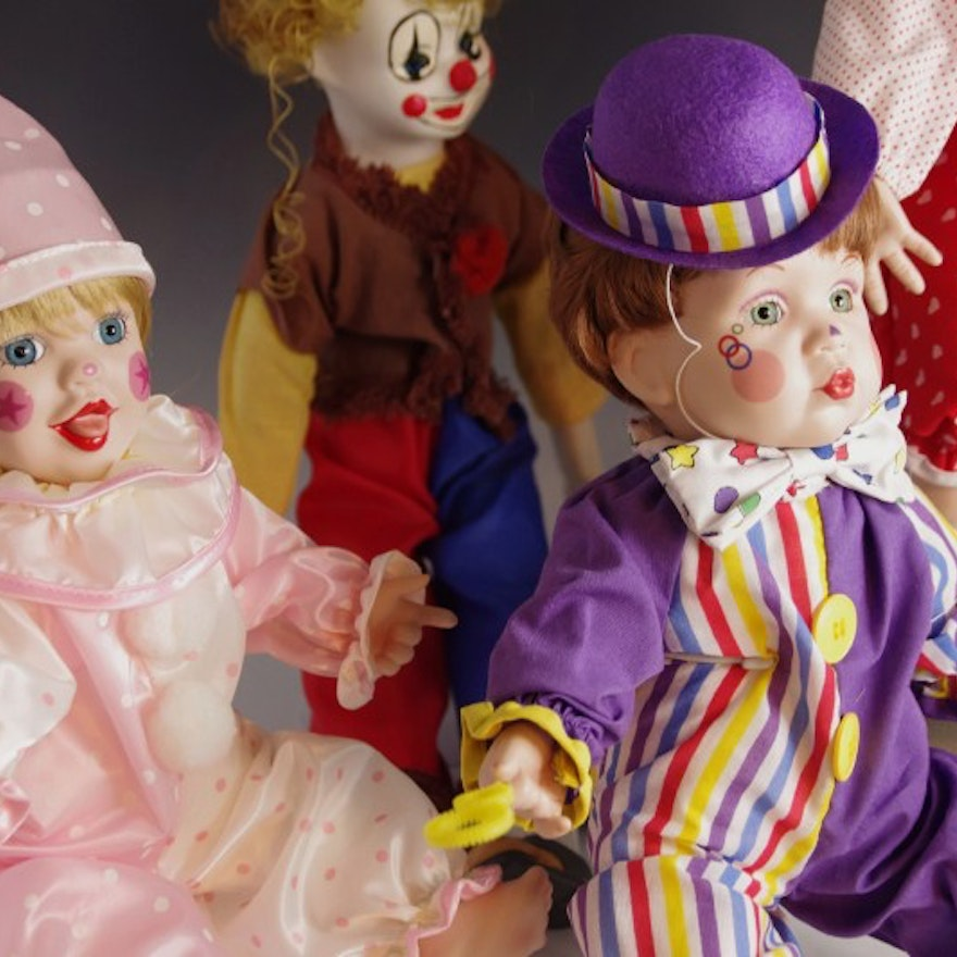 Collection of Mary Tretter Porcelain Dolls, dressed as Clowns