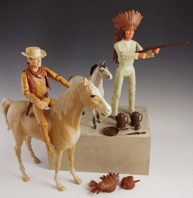 """NEW Marx Reissue Geronimo Indian Johnny West 12/"""" Accessories LOT 8 Sets RED"""
