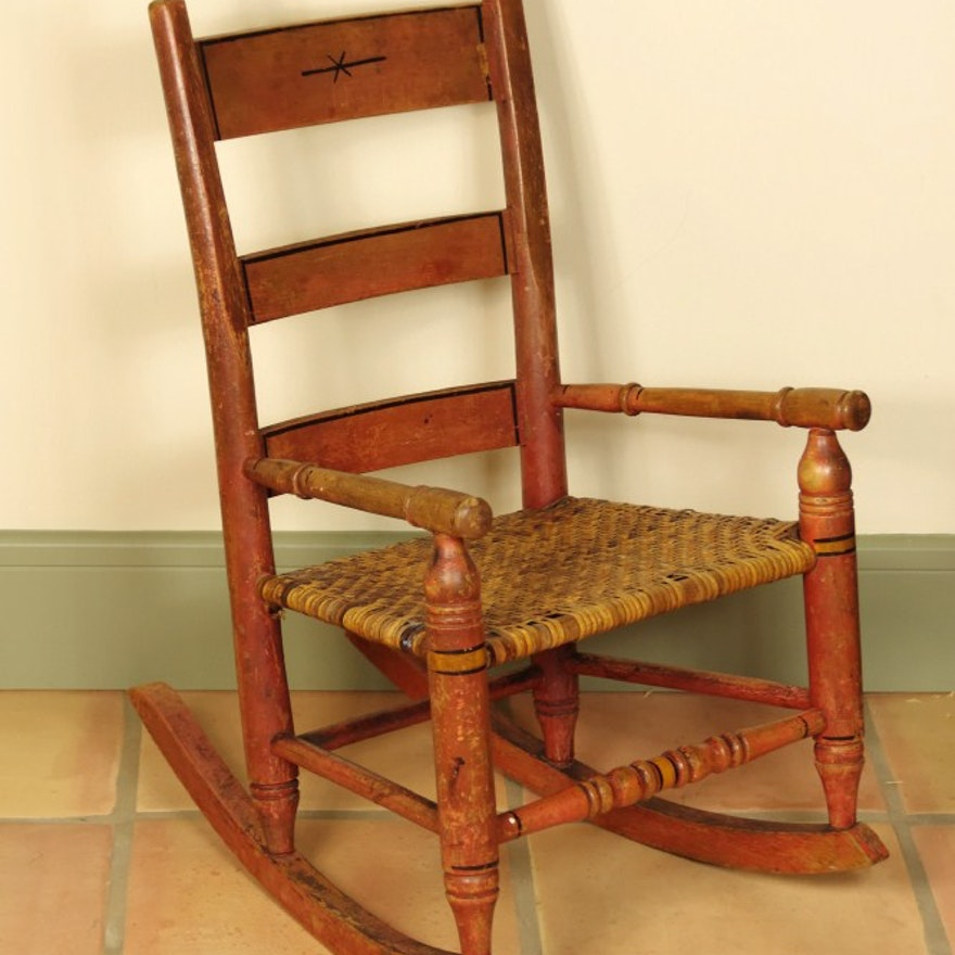 Surprising Antique Childs Rocking Chair With Wicker Seat Machost Co Dining Chair Design Ideas Machostcouk