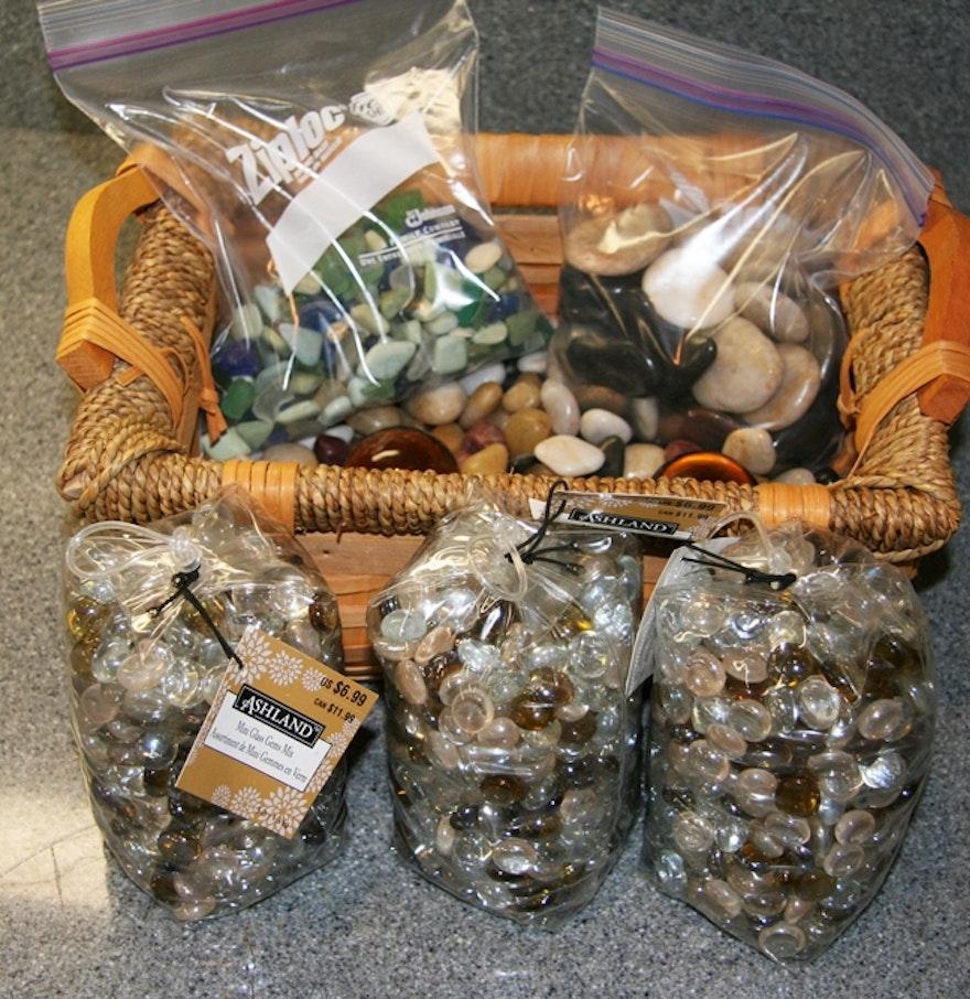 Basket of decorative rocks ebth for Decorative boulders for sale